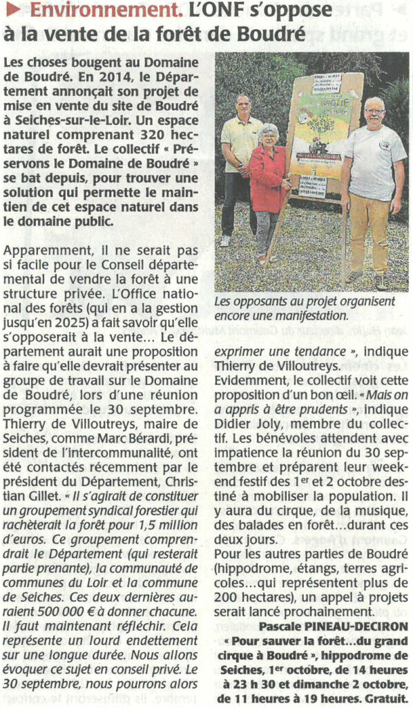 Courrier de l'Ouest du 22 septembre 2016